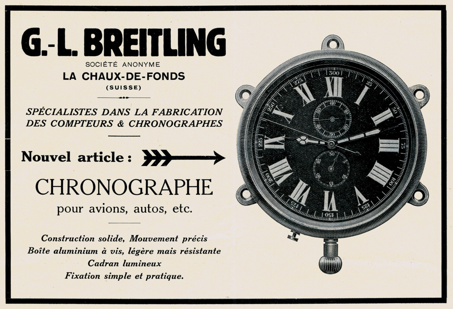1931 advertisement for an on-board chronograph made for aircraft or automobiles. (PPR/Breitling)